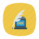 bottle, feather, ink, office, tool, write, writing icon