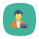 education, learner, male, man, school, student, study icon