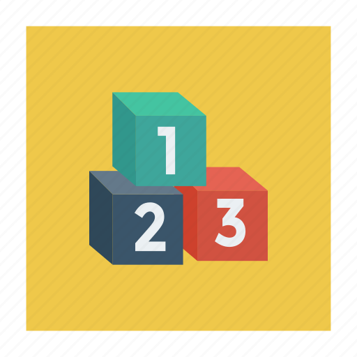 counting, cubes, digits, podium, puzzle, ranking, winners icon
