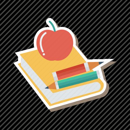 agenda, apple, book, education, office, pencil, writing icon
