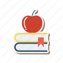 apple, bookmark, books, graduate, graduation, knowledge, library icon