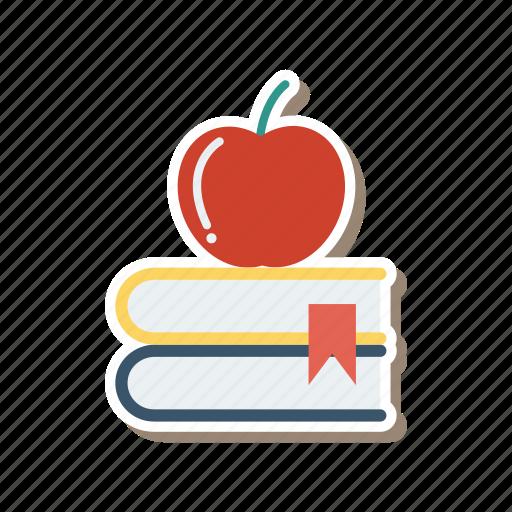 apple, bookmark, books, graduate, graduation, knowledge, library icon