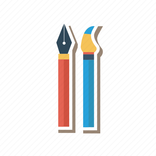 brush, calligraphy, color, education, paint, school, tools icon
