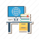 computer, computing, cpu, desk, device, office, technology icon