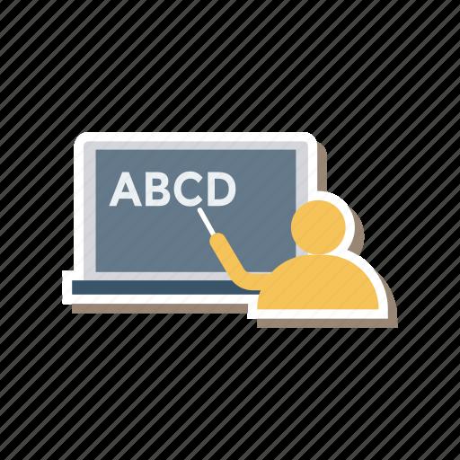 class, person, pointing, presentation, teacher, teaching, training icon