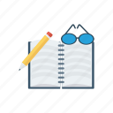 book, education, learning, notebook, open, reading, study icon