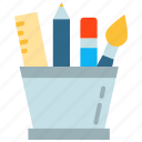 pencil, ruler, stationery, tool icon, • pen icon