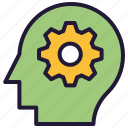 man, man with cog, man with gear, settings, thinking man icon icon