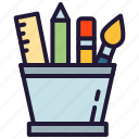pen, pencil, ruler, stationery, tool icon icon