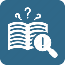 ask, book question, details, finding, question icon, search icon icon