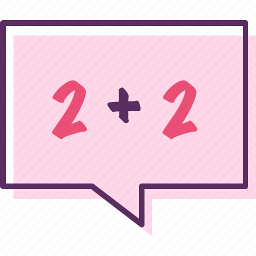 adding number, addition, numbers, two plus two icon