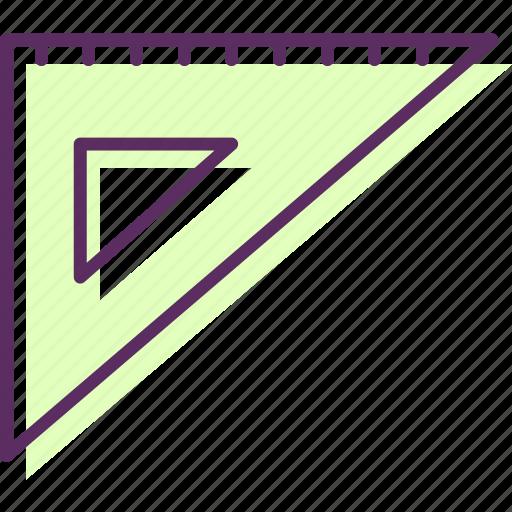 ruler, three-sided, triangular, triangular ruler, trigonal ruler, trilateral, trilateral ruler icon