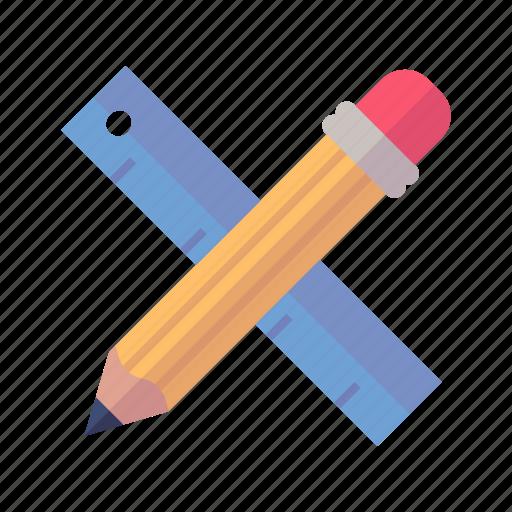 math, pencil, ruler icon