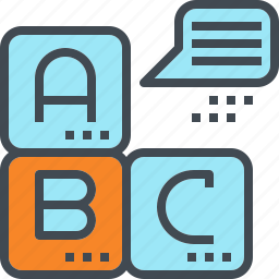block, course, language, learn, school, speak icon