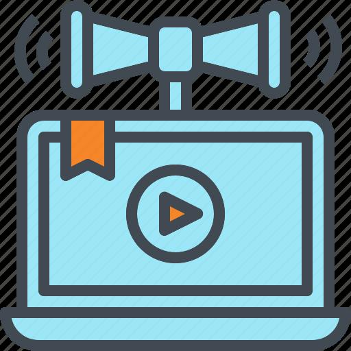 advertisement, announcement, laptop, marketing, media, online icon