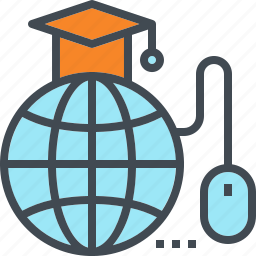 degree, education, globe, mouse, online, study, university icon