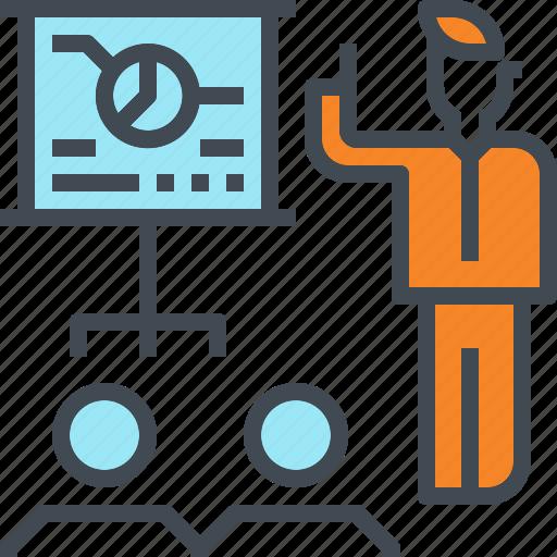 annual, meeting, presentation, report, teach, team icon
