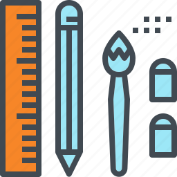 brush, eraser, pencil, rubber, ruler, stationery icon