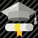academic hat, degree, graduation, scroll