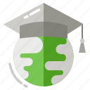 academic hat, e-learning, education, globe, online