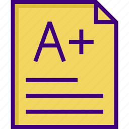 a+, business, grade, learning, office, paper, study icon