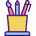 brush, draw tools, equipment, pen, pencil, school equipment, tool icon