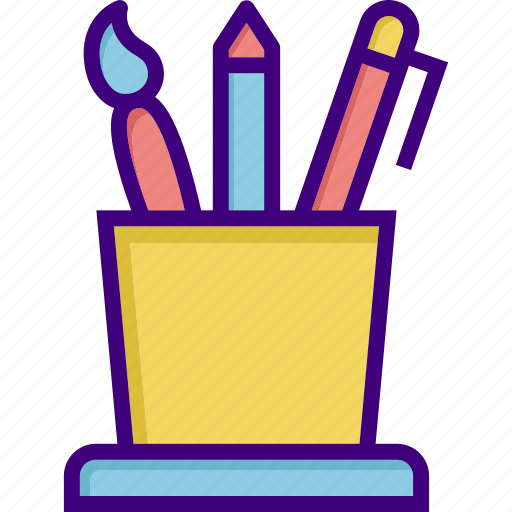 brush, draw tools, equipment, pen, pencil, school equipment, tool icon