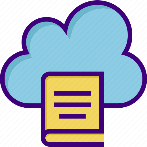 book, cloud, cloud library, cloudy, file, knowledge, storage icon