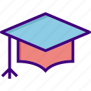 academia, cap, degree, diploma, education, graduate, graduation icon