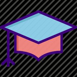 academia, cap, degree, diploma, education, graduate, graduation icon