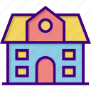 architecture, building, campus, front, school, school building, school front icon