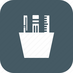 construction, pen, ruler, stationery, tool icon