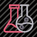beaker, experiment, flask, lab, science