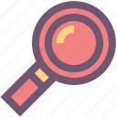 color, colour, education, magnifying glass, school, zoom icon