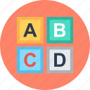 blocks, learning, letters icon