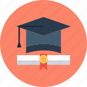 degree, graduation, hat, school icon