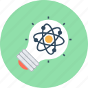 atomic, bulb, idea, science icon