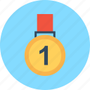 achievement, first, medal, one, reward icon