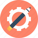 pen, science, settings, wheel icon