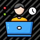 education, laptop, learning, online, school icon