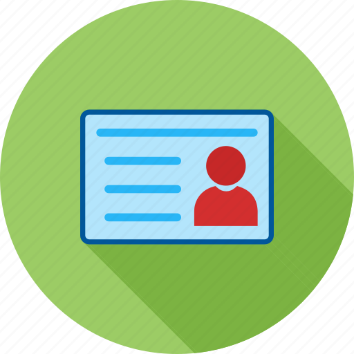 account, details, identity card, information, student, university, user icon