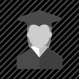 college, education, female, graduate, professor, student, university icon