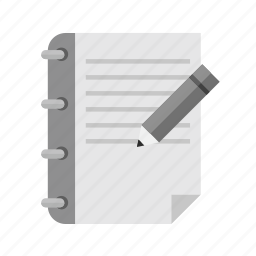 assignment, book, document, notes, page, pen, studies icon