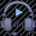 audio, education, headphones, lesson icon