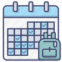 calendar, date, days, school icon
