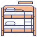 bed, bunk, dormitory, hostel icon
