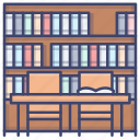 books, bookshelf, library, study icon