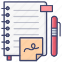 education, notebook, pen, study icon