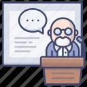 lecture, lesson, professor, speech icon