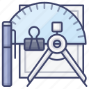 compasses, drawing, pen, stationery icon